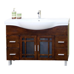 "Bella Terra - Bellaterra 48"" Single Sink Vanity in Wood-Walnut - Add a unique contemporary flare to your home's decor with this mission style design sink chest vanity. The medium walnut finish is refreshing and will surely add to your home's ambiance. Solid oak with semi close finish to ensure water proof surface against bathroom humidity."