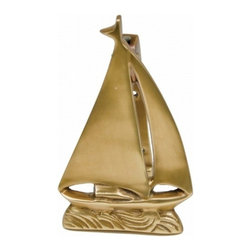 "Handcrafted Model Ships - Solid Brass Sailboat Door Knocker 6"" - Brass Sailboat Door Knocker - The Solid Brass Sailboat Door Knocker 6"" is the perfect addition for any nautical themed home. This is a solid, and durable decorative door knocker. Easily mountable, display this sailboat door knocker to show those who approach your home, an affinity for the nautical sea-faring lifestyle."