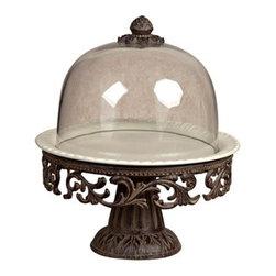 GG Collection - The GG Collection Cake Pedestal w/Glass Dome - The GG Collection Cake Pedestal w/Glass Dome