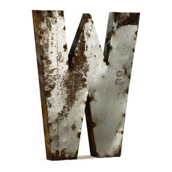 """Kathy Kuo Home - Industrial Rustic Metal Large Letter W 36""""H - Create a verbal statement!  Made from salvaged metal and distressed by hand for an imperfect, time-worn look."""
