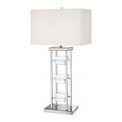 Minka George Kovacs - Minka George Kovacs 2-Light White Fabric Shade Polished Nickel Table Lamp - This 2-Light Table Lamp has a White Fabric Shade and a Polished Nickel with Eidolon Krystal Glass Finish.