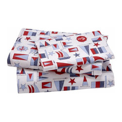 Nautical Print Sheet Set - For the avid young sailor, why not sheets that display their hobby with pride? The red and blue palette of these would go well with other sailor-themed bedroom decor.