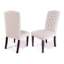 Great Deal Furniture - Clark Tufted Back Fabric Dining Chairs, Set of 2 - Eating local. If your favorite upscale dining spot is around your own table, you may want to consider adding luxurious dining chairs that can rise to the occasion. Each of these chairs are crafted of natural hardwoods and covered in a soft, ivory linen upholstery that adds just the right mix of polish and panache to your at-home bistro.