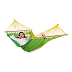 Gale Pacific Usa Inc. - Coolaroo Single Person Hammock with Bar - This single person hammock includes a spreader bar made from durable FSC timber to promote a healthy lifestyle. Features a wide width for extra comfort. In a vibrant and rich colored fabric.