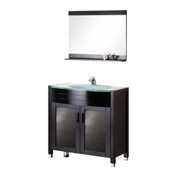 "Design Element - Design Element Waterfall 36"" Espresso Modern Single Drop-in Sink Vanity Set - The Waterfall 36"" Vanity Set is elegantly constructed of solid hardwood. The integrated tempered glass counter top and sleek design bring contemporary elegance to any bathroom. The seamless oval drop in sink beautifully showcases the natural aqua counter top. This stylish design includes soft closing double cabinet doors with solid hardwood handles. Included is an espresso framed mirror with shelf. The Waterfall Bathroom Vanity is designed as a center piece to awe-inspire the eye without sacrificing quality, functionality or durability."