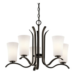 Kichler Lighting - Kichler Lighting Armida Transitional Chandelier X-ZO47034 - This 5-light chandelier features a pleasing contemporary shape and a refreshing design. The frame comes in a beautiful dark olde bronze finish, which is contrasted by satin etched white glass. The Kichler Lighting Armida Transitional chandelier is a great-looking piece for your favorite living space.