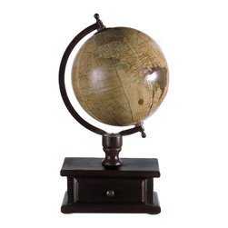 iMax - Globe with Storage - Small desk top world globe on mango wood stand with storage drawer.