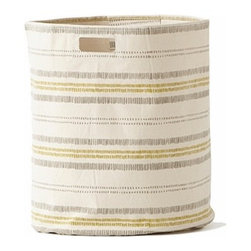 Pehr Grey/Citron Railroad Canvas Storage Hamper - This whimsical hamper in squiggly grey and citron yellow horizontal lines print is unique and durable. Made from 100% Heavy weight cotton canvas and machine washable. Just one of many prints to choose from, the Petite Pehr Alphabet Hamper will fit perfectly into your child's room.