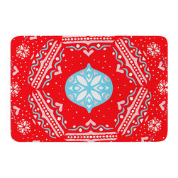 "KESS InHouse - Miranda Mol ""Snow Joy Red"" Blue Memory Foam Bath Mat (24"" x 36"") - These super absorbent bath mats will add comfort and style to your bathroom. These memory foam mats will feel like you are in a spa every time you step out of the shower. Available in two sizes, 17"" x 24"" and 24"" x 36"", with a .5"" thickness and non skid backing, these will fit every style of bathroom. Add comfort like never before in front of your vanity, sink, bathtub, shower or even laundry room. Machine wash cold, gentle cycle, tumble dry low or lay flat to dry. Printed on single side."