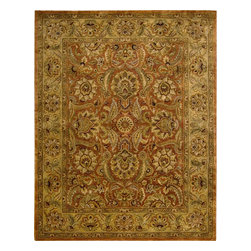 """Nourison - Nourison Jaipur JA29 (Rust) 5'6"""" x 8'6"""" Rug - The Nourison Jaipur collection features a distinctive assortment of traditional designs, handmade from the finest 100% premium quality wool. Nourison's own unique herbal-wash process creates the elegant look of a priceless antique. With their lavish pile and the silk-like sheen of their lanolin-rich wool, Jaipur Collection rugs will bring a dramatic fashion accent to any room setting."""