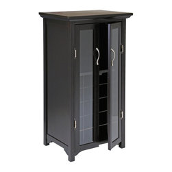 Winsome Wood - Winsome Wood Mason 20-Bottle Wine Cabinet with Dark Espresso Finish X-22729 - Handsome Mason Wine Cabinet is simple and elegant in style.  Perfect for storing your wine bottles and wine glasses.  Double French doors.  Espresso finish.  Assembly Required.