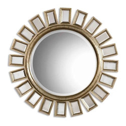 Uttermost - Cyrus Distressed Silver Leaf Round Mirror - This round, beveled mirror has a wood frame and is accented by several individual beveled mirrors.  The frame finish is distressed silver leaf with light antiquing.