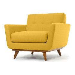 Thrive Furniture - Nixon Mid Century Modern Chair - Cordova Amber Orange - The Nixon Chair is a mid century modern reporduction.  Customize yours with over 30 fabric and leather options and 3 wood finishes.  Made in the USA. Ask for Free fabric samples!  Items are custom made-to-order and shipped in 7 business days.