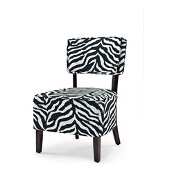 Lifestyle Solutions - Zoey Accent Chair in Black and White - Fabric color: Lime and Gray. Hardwood interior frame. Slipper style shape. Minor assembly required: Instructions and tools provided. Clean with damp cloth. 33.5 in. L x 22.2 in. W x 22.2 in. H (26 lbs)The LS Accent Chair line is an excellent transitional solution to adding fashion and elegance to any home. Easily coordinate the richly finished wood frames and shaped legs with other wood elements in the home while the assortment of fabrics provides an array of options. Crafted with a quality, sturdy hardwood interior construction and plush cushioning ensure that this chair will withstand the test of time.