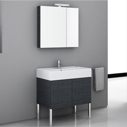 Iotti - 32 Inch Bathroom Vanity Set - A wide profile and minimalist design combine in this vanity set to give you excellent performance and stunning looks in the busiest bathrooms. Finished in Glossy White, Wenge and Gray Oak, the waterproof construction is enhanced with E1 Ecological panels for ultra low emissions of harmful pollutants like formaldehyde. A two door, mirrored medicine cabinet has a light and two shelves inside. The fitted white ceramic sink is wide and has generous shelf space. Imported from Italy. Set Includes: . Vanity Cabinet (2 doors). Fitted ceramic sink (31.5 inch x 5.7 inch x 18.3 inch ). Medicine cabinet (30.9 inch ). Vanity Light (11.8 inch ). Vanity Set Features:. Vanity cabinet made of engineered wood. Cabinet features waterproof panels. Available in Grey Oak (as shown), Glossy White, Wenge. Cabinet features 2 doors. Faucet not included. Perfect for modern bathrooms. Made and designed in Italy. Includes manufacturer 5 year warranty.