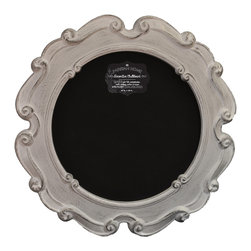 """Enchante Accessories Inc - Parisian Home Round Wooden Framed Chalkboard / Blackboard 23"""" Diameter (White) - This message board features a Ornately carved Wooden Framed chalkboard. Use it as a traditional board for notes & to-do lists. With a wooden frame, this chalkboard works as well in the dining room, kitchen or mud room as it does in the home office."""