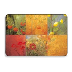 Jason Products Usa Inc. - Citrus Garden Cork-Backed Placemats (Set of 4) - Add style, beauty, and a strong dose of practicality to your tablesetting with these lovely, care-free, cork-backed placemats. The Citrus Garden Placemats feature a vibrant palette of red, orange, yellow, and green with a subtle contrast of blue.
