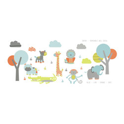 The Lovely Wall Co - Wild Safari Wall Decal Set, Orange - Wild Safari Wall Decal