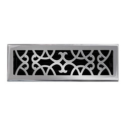 """Brass Elegans 120F PWT Brass Decorative Floor Register Vent Cover - Victorian Sc - This pewter finish solid brass floor register heat vent cover with a victorian scroll design fits 4"""" x 14"""" x 2"""" duct openings and adds the perfect accent to your home decor."""