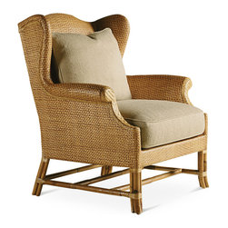 Baker Furniture - Rattan Wing Chair - Wing design reinterpreted in woven peel. Loose back and seat. Clustered leather-bound legs. Multiple stretchers for strength.