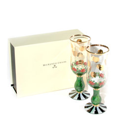 Heirloom Toasting Flutes - Set of 2   MacKenzie-Childs - Special-occasion commemoration or everyday celebration? Either way, our Heirloom Toasting Flutes—embellished with roses, gold dots, and accented with black and white—are just the answer. Mouth-blown and hand-painted recycled glass. Includes a presentation/keepsake box. Hand-wash.