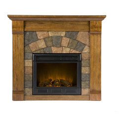 Holly & Martin - Holly & Martin Underwood Electric Fireplace, Antique Oak - Beautifully rustic, this antique oak fireplace exudes character and style. The stunning wood grain is further enhanced with aged distressing such as worm holes and small marks and imperfections making each piece unique. The faux slate front has a stunning pattern of tiles that arch across the front creating this true masterpiece. Portability and ease of assembly are just two of the reasons why our fireplace mantels are perfect for your home. Requiring no electrician or contractor for installation allows instant remodeling without the usual mess or expense. In addition to your living room or bedroom, try moving this fireplace to your dining room for romantic dinners or complement your media room with a ventless fireplace below your flat screen television. Use this great functional fireplace to make your home a more welcoming environment.