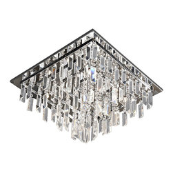 Lite Source - Lite Source Helanie Modern / Contemporary Flush Mount Ceiling Light X-51105-LE - Delicate panel crystal shades feature staggered prism curtain with modern chrome finish metal frame brings an exquisite illumination to any setting.