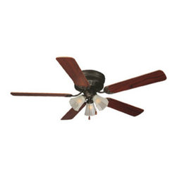 DHI-Corp - Millbridge 52-Inch 5-Blade Hugger Mount Ceiling Fan, Dark Mahogany or Ligh Maple - The Design House 153411 Millbridge 52-Inch 5-Blade Hugger Mount Ceiling Fan features an oil rubbed bronze finish with frosted glass shades that are ideal for any room in the house. Use the pull chain to control your 3-speed motor and toggle between three different speed settings. The (5) fan blades have a dark mahogany finish on one side and a light maple finish on the other. Run the motor in reverse to help conserve energy costs during all seasons. Blades can be run on the normal setting during the summer to create cooling air flow and on reverse in the winter to re-circulate warm air from the ceiling. This fan is UL listed, rated for 120-volts and features (3) 60-watt candelabra base incandescent lamps. Adaptable light kit is included. Measuring 52-inches, this fixture adds a dramatic accent to any home or condominium. Coordinate your home with the rest of the Millbridge collection, which features a beautiful matching pendant, chandelier, vanity and ceiling mount. The Design House 153411 Millbridge 52-Inch 5-Blade Hugger Mount Ceiling Fan comes with a 10-year limited warranty that protects against defects in materials and workmanship. Design House offers products in multiple home decor categories including lighting, ceiling fans, hardware and plumbing products. With years of hands-on experience, Design House understands every aspect of the home decor industry, and devotes itself to providing quality products across the home decor spectrum. Providing value to their customers, Design House uses industry leading merchandising solutions and innovative programs. Design House is committed to providing high quality products for your home improvement projects.