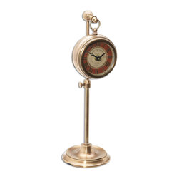 "Uttermost - Pocket Watch Brass Thuret - Brass Pocket Watch Replica That Hangs On An Adjustable Telescopic Stand. Requires 1-aa Battery. Stand Adjusts From 8"" To 12 1/2"" In Height."