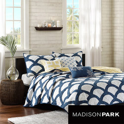 Madison Park - Madison Park Montego 6-piece Coverlet Set - With a soothing blue design composed of gentle curves and intersections, this lovely machine washable coverlet set is a welcome addition to any bedroom. The set includes two matching shams and three embroidered decorative pillows completing the look.