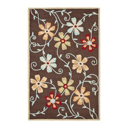 Safavieh - Country & Floral Blossom 8'x10' Rectangle Brown - Multi Color Area Rug - The Blossom area rug Collection offers an affordable assortment of Country & Floral stylings. Blossom features a blend of natural Beige - Multi Color color. Hand Hooked of Wool the Blossom Collection is an intriguing compliment to any decor.