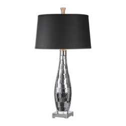 Uttermost - Cosmas Mosaic Mirrored Table Lamp - Mosaic mirror tiles with charcoal grout accented with plated gun metal details. The tapered round hardback shade is a charcoal black linen fabric with natural subbing.
