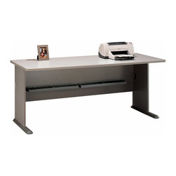Bush Business - 72 in. Pewter Finish Desk - Series A - The top surface of this pewter colored computer desk is scratch and stain resistant, and offers a unique c-leg design for added comfort in legroom.  Smooth PVC edge banding accents the desk, and wire access is concealed at top and leg levels.  Many optional features extend the value of this desk, including matching hutch, sliding keyboard shelf and pencil drawer.  Spacious, elegant, and unique, this office desk has all the space you will need to store the daily office essentials but also work without being crowded or promoting a cluttered appearance.  You can fit everything from your plasma computer and printer to all your related techno gadgets on this pewter computer lab desk. * Diamond Coat� top surface is scratch and stain resistant. Steel insert in molded feet w levelers. Top and leg wire access/concealment. More leg room with C-leg design. PVC edge banding. Pewter finish . 26.875 in. W x 29.875 in. D x 71.625 in. H