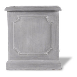 Amedeo Design, LLC - USA - Paneled Square Planter - Our Paneled Square Planter planters are gorgeous and durable pieces. Made in likeness to classic English design they look exactly like ancient European & Mediterranean designs in carved stone. When built with our lightweight weatherproof ResinStone its so authentic, you actually have to lift these planters to convince yourself they're not stone at all. Made in USA.