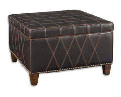 Uttermost - Wattley, Storage Ottoman - Rugged sable brown covering with double stitched gridwork is of washable and breathable faux leather. Lift off top features welted seams, and offers invaluable storage space. Wooden legs are finished in weathered hickory and accented with nail head detail