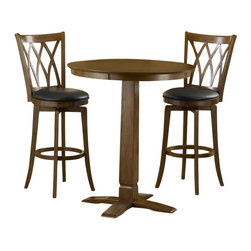 Hillsdale - Hillsdale Dynamic Designs 3 Piece Pub Table Set with Mansfield Stools - Hillsdale - Pub Sets - 4975PTBBRNS2MF - The Dynamic Designs Pub Table Set is sleek and contemporary with a casual style that will fit in anywhere. The pub table has a pedestal base with a squared tapering center column. With its warm finish and intricately designed chairs this pub table set is sure to be the focal point of the family room kitchen or den.