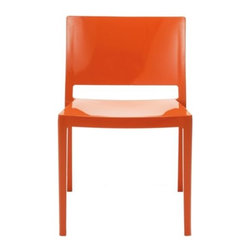 Kartell - Lizz Chair by Kartell - The Kartell Lizz Chair is an ultra-streamlined design, represented by the minimalist and extremely elegantstyle created by Piero Lissoni. Composed into a single piece, using gas-blowing technology, resulting in a squared contour, a wide seat and low roomy backrest. The Lizz Chair is extremely stable, shockproof, scratch-resistant and can withstand all weather conditions making it suitable for outdoor use. It comes in a wide range of glossy colors and stacks up to 6 high.