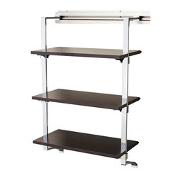 Arrange A Space - Three Shelf Rack in Espresso Finish - Includes hardware. Anodized aluminum rail. Rail mounts easily onto the wall. Easy to installs into wood studs. 0.75 in. shelf thickness with industrial grade particle board. Commercial grade steel tubing hang rod in polished chrome. Made from fine wood grain melamine and metal. 24 in. W x 11.75 in. D x 38 in. H (32 lbs.)Arrange a Space's patented closet systems provide you with a unique and innovative solution for all of your space and storage needs. Created as a more flexible and versatile option for closets and storage areas than the common white wire or wood shelf, rod systems of the past.