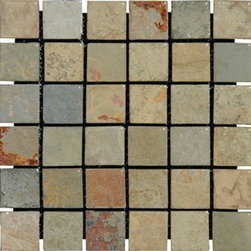 "MS International 2"" x 2"" Earth Tumbled Mesh-Mounted Slate Mosaic Tiles - 2"" x 2"" Earth Mesh-Mounted Slate Mosaic Tile is a great way to enhance your decor with a traditional aesthetic touch. This Tumbled Mosaic Tile is constructed from durable, impervious Slate material, comes in a smooth, unglazed finish and is suitable for installation on floors, walls and countertops in commercial and residential spaces such as bathrooms and kitchens."