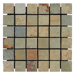 """MS International 2"""" x 2"""" Earth Tumbled Mesh-Mounted Slate Mosaic Tiles - 2"""" x 2"""" Earth Mesh-Mounted Slate Mosaic Tile is a great way to enhance your decor with a traditional aesthetic touch. This Tumbled Mosaic Tile is constructed from durable, impervious Slate material, comes in a smooth, unglazed finish and is suitable for installation on floors, walls and countertops in commercial and residential spaces such as bathrooms and kitchens."""