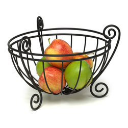 Spectrum Diversified Designs - Scroll Fruit Bowl - Black - Keep fresh fruit and vegetables handy and ready to eat with our Scroll Deluxe Fruit Bowl. Also great for serving bread, rolls and muffins.  Made of sturdy steel with a black finish. A hospitality favorite for restaurants and hotels.