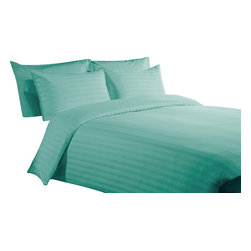 600 TC Duvet Cover with 1 Fitted Sheet Striped Aqua Blue, King - You are buying 1 Duvet Cover (102 x 94 inches) and 1 Fitted Sheet (76 x 80 inches) and 2 King Size Pillowcases (20 x 40 inches) only.