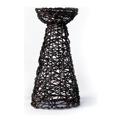 Rattan Candle Holder, Short - Woven Accents Collection