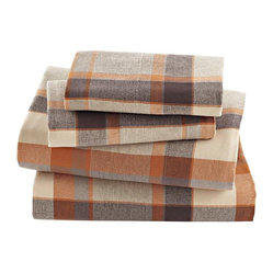 Brown Plaid Flannel Sheet Set - A set of plaid flannel sheets like these can turn a bedroom into a cozy den.