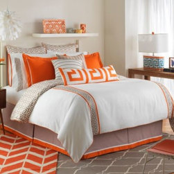 Jill Rosenwald - Jill Rosenwald Jills Key Duvet Cover - Awaken your bedroom with the unique and vibrant Jill Rosenwald Jills Key Duvet Cover. Accented with two tangerine and taupe Greek key bands, the plush bedding brings fresh colors and a Mediterranean-inspired style to your bed.