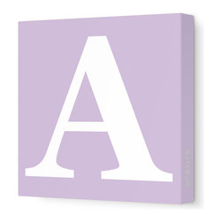 """Avalisa - Letter - Upper Case 'A' Stretched Wall Art, Lilac, 12"""" x 12"""" - Spell it out loud. These uppercase letters on stretched canvas would look wonderful in a nursery touting your little one's name, but don't stop there; they could work most anywhere in the home you'd like to add some playful text to the walls. Mix and match colors for a truly fun feel or stick to one color for a more uniform look."""