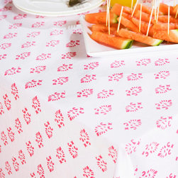 Pink  Floral Table Cloth - Sweet Nothings table cover of pink and white linen for a girls' night in and picture perfect dinner. The delicate pink print floral cloth will be the envy of them all. Hand Block Printed from Attiser
