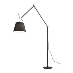 """Artemide - Artemide Tolomeo Mega LED Floor Lamp - The Tolomeo mega floor lamp from Artemide has been designed by Michele De Lucchi. This floor standing luminaire is perfect for incandescent or halogen direct and indirect diffused lighting. The Tolomeo mega's fully...     The Tolomeo mega floor lamp from Artemide has been designed by Michele De Lucchi. This floor standing luminaire is perfect for incandescent or halogen direct and indirect diffused lighting. The Tolomeo mega's fully adjustable arm body structure is made of extruded aluminum in a brilliant polished anodized finish. The joints and tension control knobs are in die-cast polished aluminum. The diffuser with aluminum frame, is available in grey or parchement colored polycarbonate fiber blend The diffuser is available in three sizes small (12""""= 32cm ) medium (14"""" = 36cm ) and large (17"""" = 42cm ) The Tolomeo mega floor lamp is a wonderful depiction of elegance and cutting edge design that is sure to brighten any atmosphere. Dimmer incorporated on cord. (110V version only)     Manufacturer: Artemide   Designer: Michele De Lucchi    Made in: Italy    Dimensions:     Height: 130""""-131.5"""" (330-335cm) X Width: 13"""" (33 cm)  Shade diameter small : 12"""" (32cm)  Shade diameter medium : 14"""" (36cm)  Shade diameter large : 17"""" (42cm)     Lamping:  LED E26/A19 17W dim     Material: steel, aluminum, polycarbonate"""