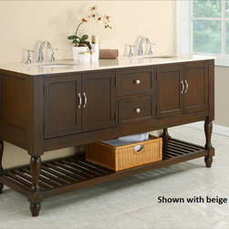 None - Dark Brown/ Marble Mission 70-inch Double Vanity Cabinet - This 70-inch mission-style double vanity console creates a spa-like environment in any bathroom with its cool marble top. Beautifully-crafted wood turned legs on the dark wood cabinet make for a more traditional style, combining both elegance and warmth.