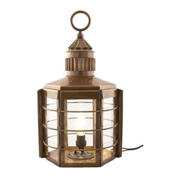 """Handcrafted Model Ships - Antique Brass Clipper Ships Electric Lantern 22"""" - Antique Brass Nautical Lamp - This antique brass clipper ship electric lantern, is a beautiful fully functional handcrafted production. These lanterns provide realistic nautical lamp lighting, uses up to 60W bulb, and are the same quality and size as their oil burning counterparts. Our clipper lantern stands 22 inch tall with the handle and is 12 inch wide. The lamp is very sturdy. Some the applications that our ships lantern has been used for include, wall lantern, outdoor lamps, ships wheel chandeliers, exterior lighting on property, ceiling fixtures, and also make a perfect patio/deck lantern. You can also choose to mount on your wall with one of our brass wall hangers. The electric bulb socket is accessed from under the lantern. Our largest lantern, ideal gifts for people who love nautical lamp memorabilia and great for your home, patio, boat, bar, or office. Caution: This lantern is limited to being used from a hanger only as the electrical cord exits per the bottom of the lantern, cannot be used safely on a table."""